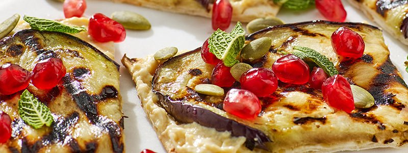 Aubergine Recipes: Houmous Flatbread