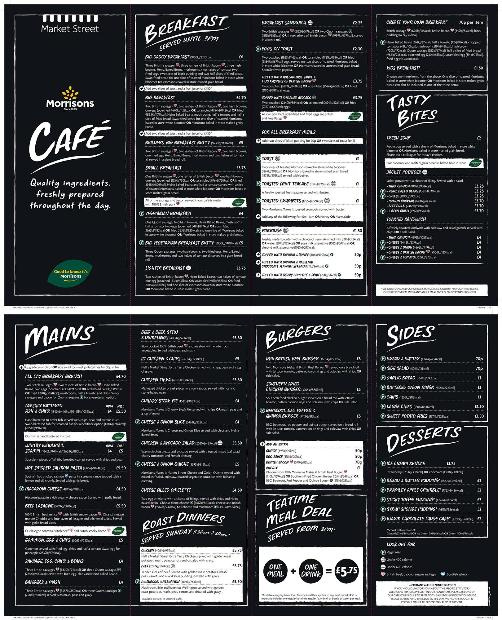 our morrisons cafe menu - morrisons